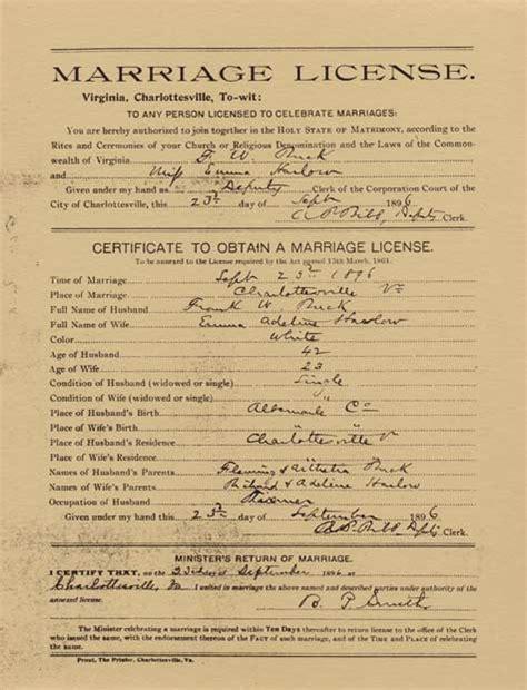 Va Marriage License Records Buck