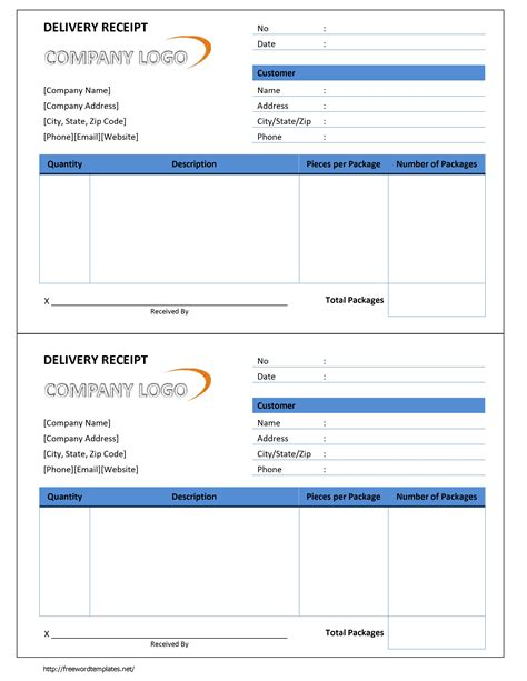 receipt template for word delivery receipt template