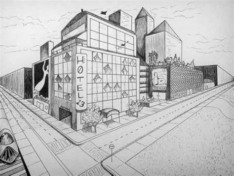 2 Point Perspective Drawing Cityscape by Drawing 101 A Compilation On Behance