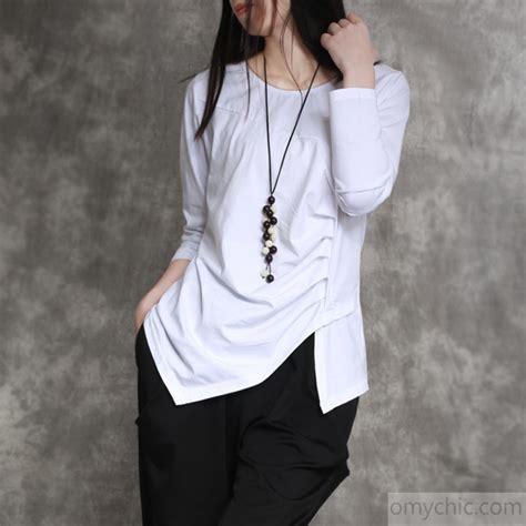 best designs white cotton shirts top sleeve blouse asymmetric