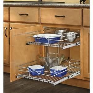 Kitchen Cabinet Slide Out Shelf by Rev A Shelf 17 75 In W X 22 06 In D X 19 In H 2 Tier Metal