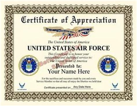 us air force certificate of appreciation 8 5 by 11 inches