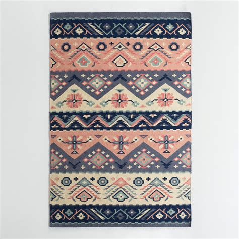 Coral Area Rug Navy And Coral Wool Maracaibo Reversible Area Rug World Market