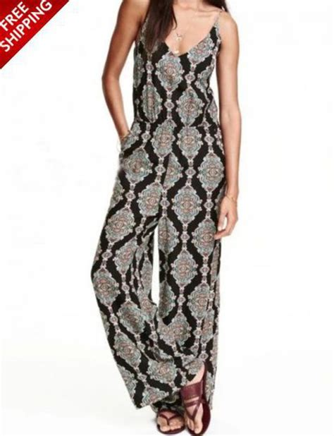 black pattern jumpsuit black pattern spaghetti strap v neck jumpsuit