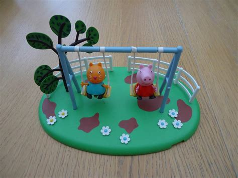 peppa pig swings peppa pig double swing set with two figures good con ebay