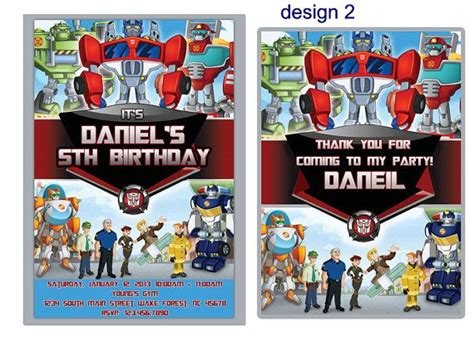printable rescue bots birthday invitations diy printable rescue bots birthday party invitation by