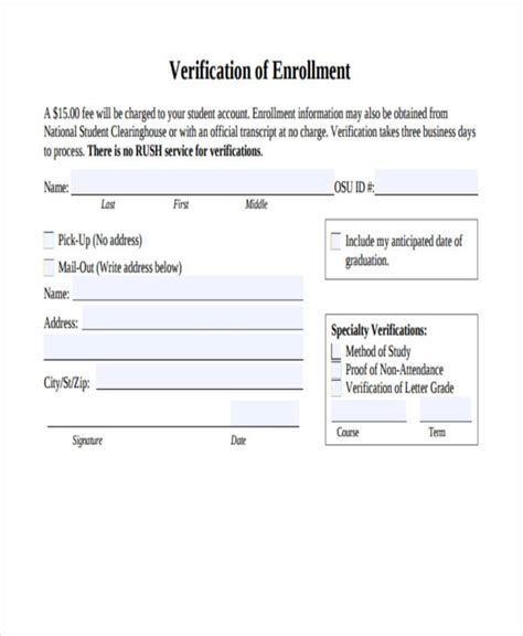 College Enrollment Verification Letter Template verification of enrollment sle letter gallery