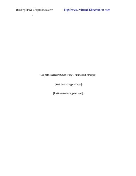 Colgate Palmolive Mba Internship by Colgate Palmolive Study Promotion Strategy
