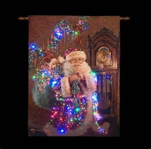 fibre optic santa grandfather clock wall tapestry