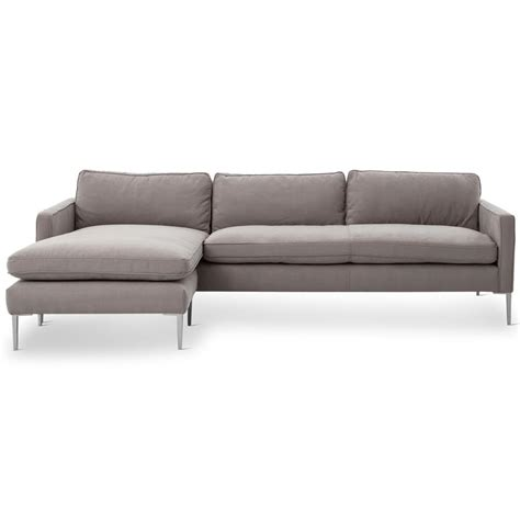 twill sectional trista modern classic pewter twill steel sectional sofa