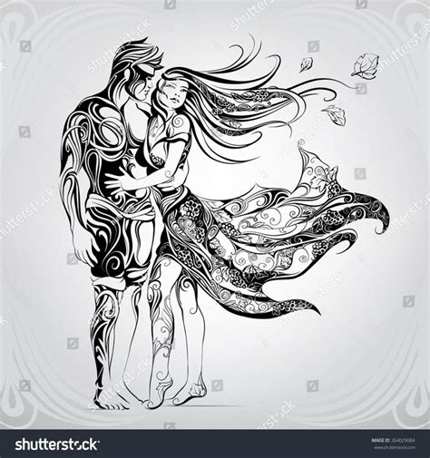 couple tattoo vector stock vector loving couple in the ornament 264029084 jpg