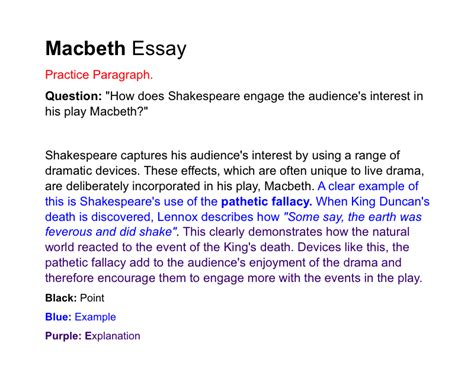 Macbeth Essay by Essay Questions On Macbeth