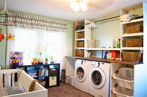 Remodelaholic Built In Laundry Unit With Shelving Laundry For Nursery