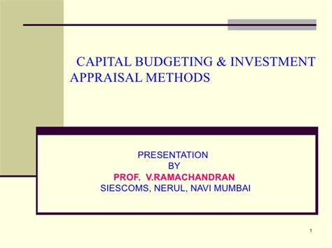 Capital Budgeting Techniques Mba Notes by Capital Budjeting Appraisal Methods