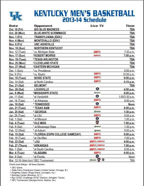 uk basketball schedule march the 2013 2014 kentucky wildcats basketball schedule is here