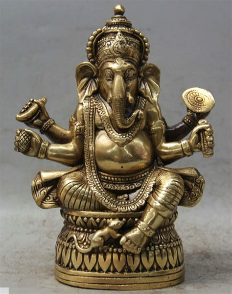 Occult Home Decor by 6 Quot Tibet Buddhism Brass 4 Arms Ganesh Lord Ganesha