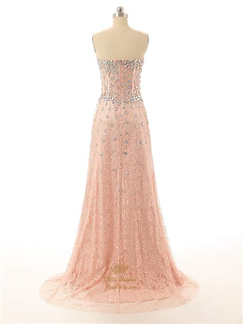 beaded lace dress pink strapless beaded corset sweetheart neckline lace