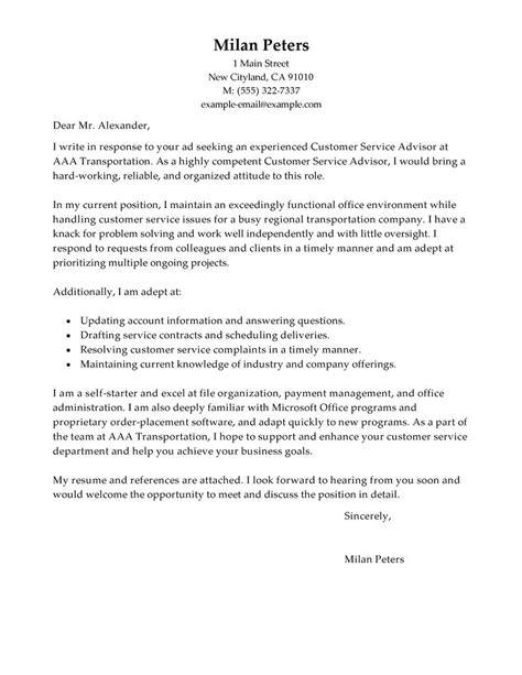 Service Advisor Cover Letter by Cover Letter Exles Customer Service Adviser Covering Letter Exle