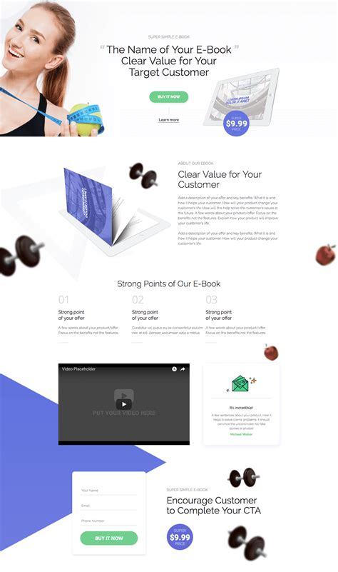 Fitness Ebook Landing Page Template Landingi Fitness Ebook Template