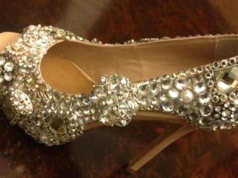 rhinestone shoes diy diy brooch rhinestone shoe weddingbee photo gallery
