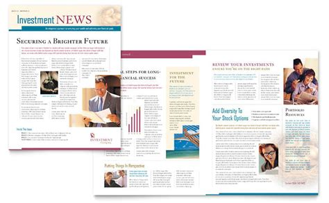 Investment Company Newsletter Template Design Financial Newsletter Templates