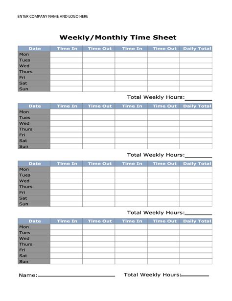 printable monthly timesheet template business psd excel