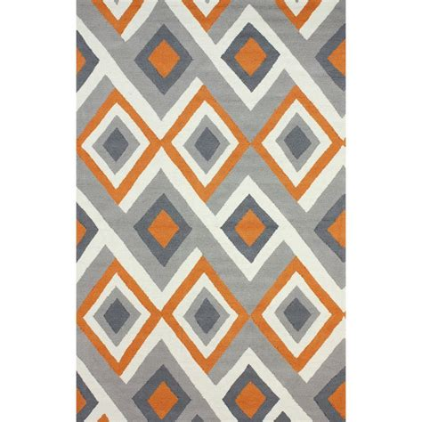 Geometric Orange Rug by Nuloom Handmade Geometric Triangle Orange Rug 5 X 8