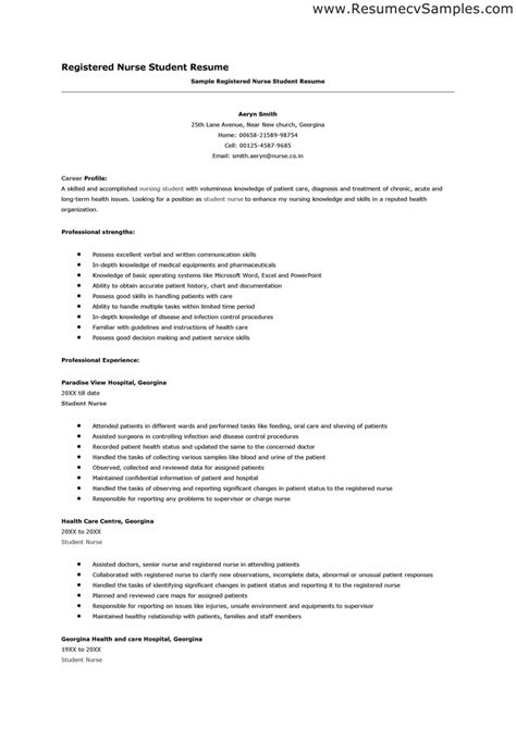 Nursing School Resume nursing student resume learnhowtoloseweight net