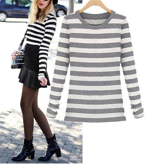 Longsleevetop Whitegrey 15325 black and white gray striped sleeve 2015 fall