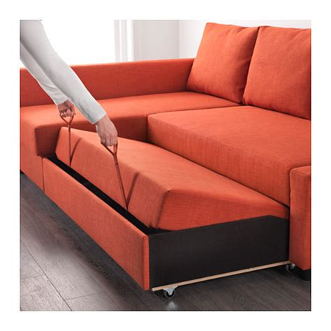 friheten corner sofa bed with storage skiftebo orange