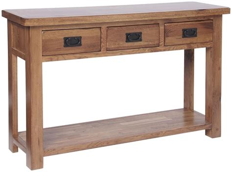 Oak Console Table With Drawers Ridgeway Oak 3 Drawer Console Table