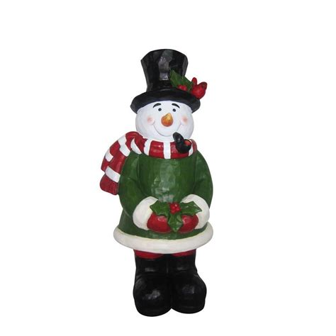 alpine snowman garden statue byb224 the home depot
