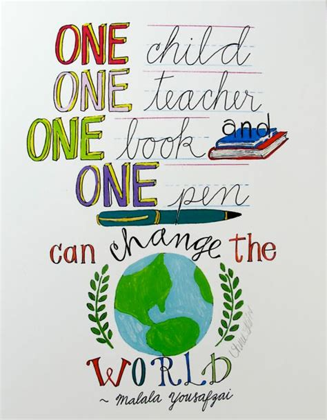 learning engage the world change the world books one child one one book and one pen can change