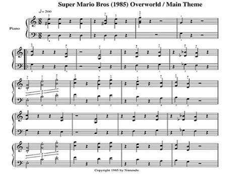 theme music mario super mario brothers theme song sheet music keytarhq