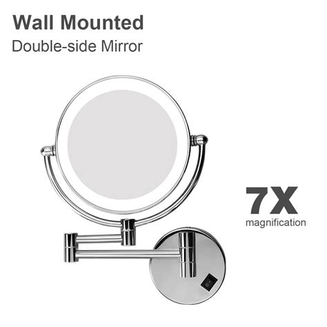 wall mounted lighted magnifying bathroom mirror pkgny com 8 quot 7x magnifying 25led makeup mirror dual side wallmount