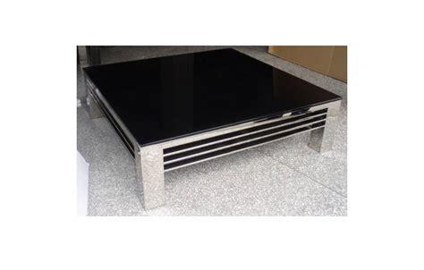 table en verre table basse haut de gamme verre noir et acier inox miroir