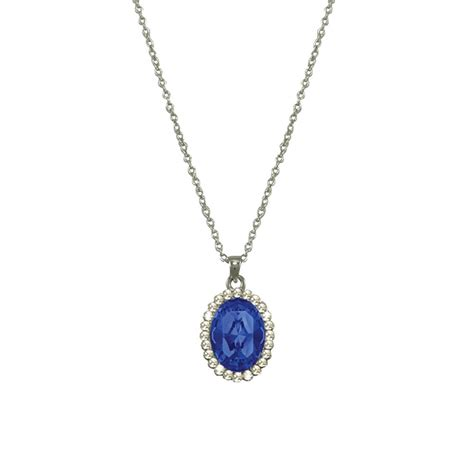 Pendant Necklace countess oval sapphire blue silver tone pendant