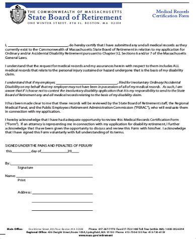 Letter Of Certification For Medical Records Sample Medical Certification Form 6 Examples In Word Pdf