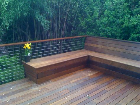deck railing with bench seating deck railing designs with benches see 100s of deck railing
