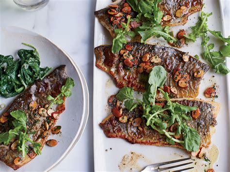 trout amandine trout amandine with creamy spinach recipe evan rich