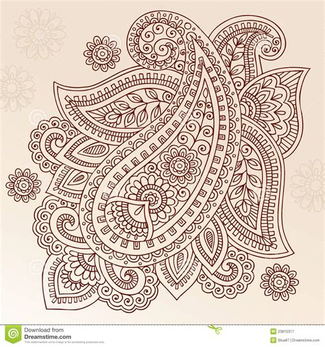 paisley henna tattoo henna flower paisley doodle vector design royalty