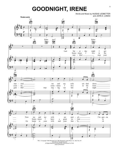 house irene lyrics goodnight irene sheet by johnny