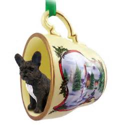 french bulldog dog christmas holiday teacup ornament