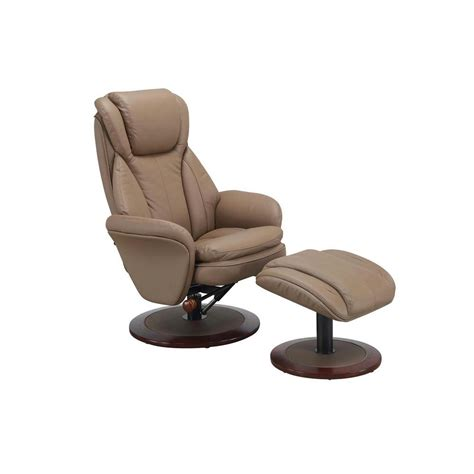 Recliner With Ottoman Mac Motion Comfort Chair Sand Leather Swivel Recliner With Ottoman 240 11 The Home Depot