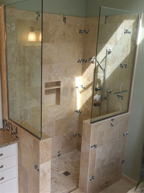 Shower Stall Without Door Doorless Walk In Shower Small Bathroom Studio Design Gallery Best Design