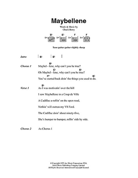 lyrics chuck maybellene sheet by chuck berry lyrics chords