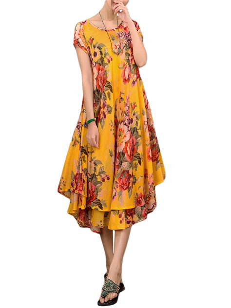 cotton swing dress elegant women flower printing cotton linen irregular swing