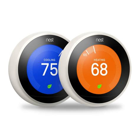 Nest 3rd Generation 7 Day Programmable Learning Wi Fi Thermostat, White, (2   Pack) VBDWDWXX17
