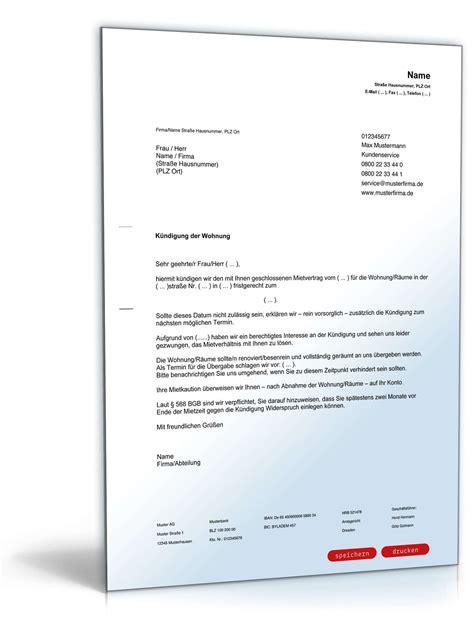 Muster Kündigung Mietvertrag Durch Den Vermieter Fristgem 228 223 E K 252 Ndigung Mietvertrag Durch Vermieter