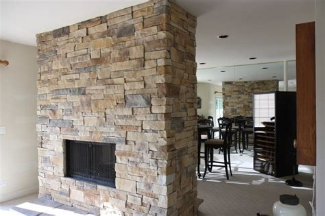 ledge stone fireplace album  traditional family room chicago  north star stone